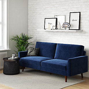 Atwater Living Joyce Coil Futon, Blue, rollover
