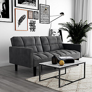 Atwater Living Hanna Convertible Sofa Sleeper Futon with Arms, Gray, rollover