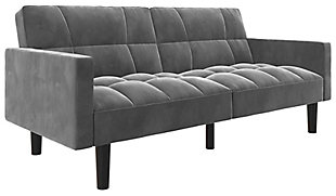 Atwater Living Hanna Convertible Sofa Sleeper Futon with Arms, Gray, large
