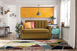 Novogratz Brittany Loveseat Sleeper Sofa with Memory Foam Mattress, Mustard, rollover