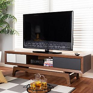 Baxton Studio  Mid-Century Modern 3-Drawer TV Stand, , rollover