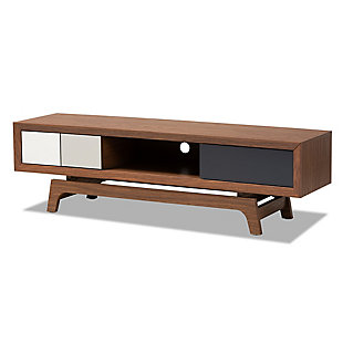 Baxton Studio  Mid-Century Modern 3-Drawer TV Stand, , large