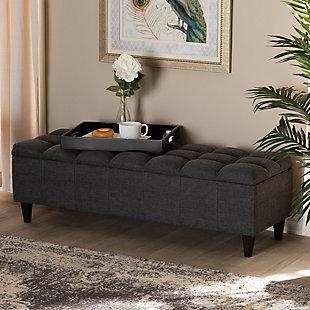 Baxton Studio Mid-Century Modern Upholstered Storage Bench Ottoman, Dark Gray, rollover