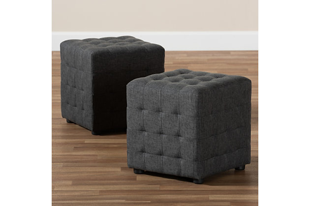 Baxton Studio Contemporary Tufted Cube Ottoman Set Ashley Furniture Homestore