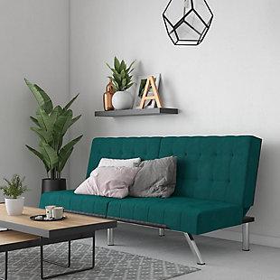 Dorel Atwater Living Elvia Green Velvet Futon, Green, large