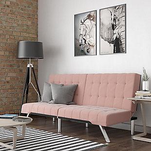 Dorel Atwater Living Elvia Pink Velvet Futon, Pink, rollover