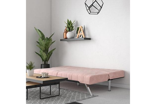 Dorel Atwater Living Elvia Pink Velvet Futon, Pink, large