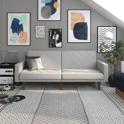 Dorel Atwater Living Leona Futon, Light Grey Linen, Light Gray, large