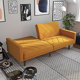 Dorel Atwater Living Leona Futon, Mustard Yellow Linen, Mustard, large