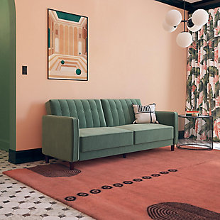 Dorel Atwater Living Lenna Tufted Futon, Light Green Velvet, Green, rollover