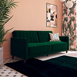 Atwater Living Atwater Living Lenna Tufted Green Velvet Futon, , rollover
