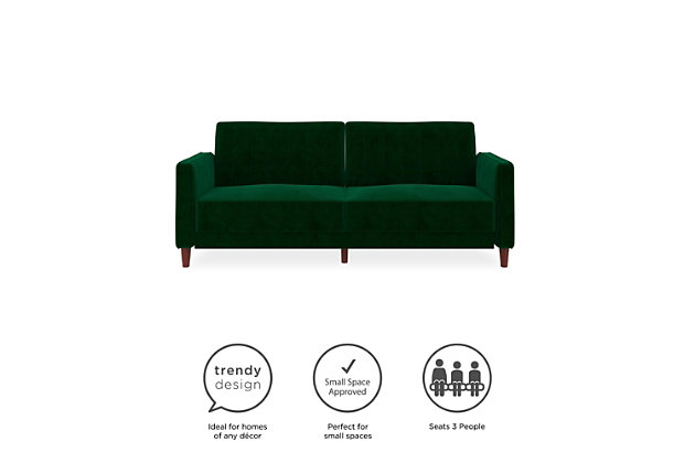 Atwater Living Atwater Living Lenna Tufted Green Velvet Futon, , large