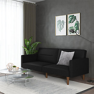Atwater Living Atwater Living Lila Black Linen Futon, Black, rollover