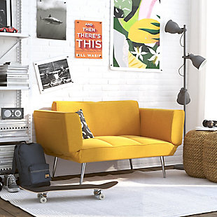 Atwater Living Atwater Living Ocie Yellow Linen Futon with Magazine Storage Mustard, Mustard Yellow, rollover