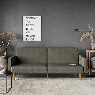 DHP Paxson Futon with USB Port Convertible Dark Gray Linen Sofa Bed, , rollover