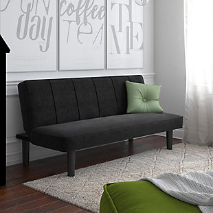 DHP Java Futon Convertible Black Microfiber Sofa Bed and Couch, , rollover