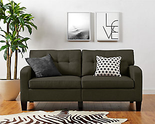 Atwater Living Atwater Living Sherri Modern Gray Linen Sofa Couch, Gray, rollover