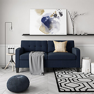 Dorel Living Dorel Living Marshall Blue Linen Sofa Couch Modern Living Room Furniture, , rollover