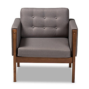 Baxton Studio Lenne Mid-Century Modern Gray Fabric Upholstered Walnut Finished Armchair, , large