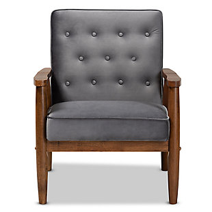 Baxton Studio Sorrento Mid-century Modern Gray Velvet Fabric Upholstered Walnut Finished Wooden Lounge Chair, Dark Gray, large