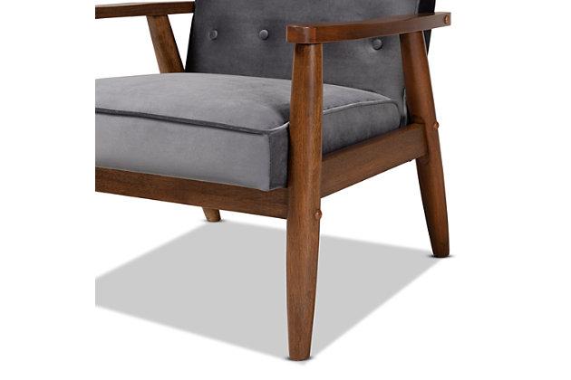 Baxton Studio Sorrento Mid-century Modern Gray Velvet Fabric Upholstered Walnut Finished Wooden Lounge Chair, Dark Gray, large