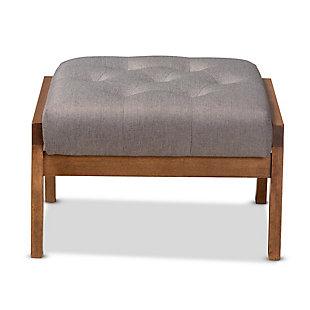 Baxton Studio Naeva Mid-Century Modern Gray Fabric Upholstered Walnut Finished Wood Footstool, , large