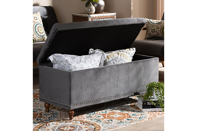 Baxton Studio Kaylee Modern and Contemporary Gray Velvet Fabric Upholstered Button-Tufted Storage Ottoman Bench, Gray, large
