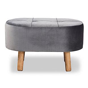Baxton Studio Simone Mid-Century Modern Gray Velvet Fabric Upholstered Wood Ottoman, , large