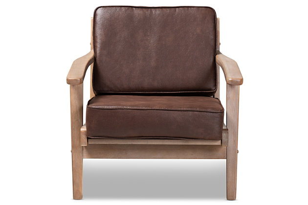 Baxton Studio Sigrid Mid-Century Modern Dark Brown Faux Leather Effect Fabric Upholstered Antique Oak Finished Wood Armchair, Brown, large
