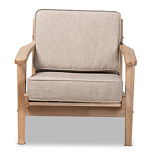 Baxton Studio Sigrid Mid-Century Modern Light Gray Fabric Upholstered Antique Oak Finished Wood Armchair, Gray, large