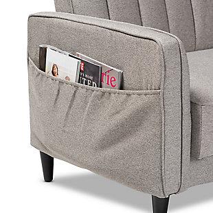 Baxton Studio Colby Mid-Century Modern Light Gray Fabric Upholstered Sleeper Sofa, , large