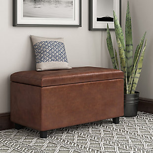 Cosmopolitan 34 inch Wide Contemporary Rectangle Storage Ottoman in Distressed Saddle Brown Faux Air Leather, , rollover