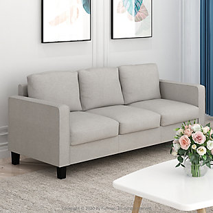 Bayonne Modern Upholstered 3-Seater Sofa, Beige, rollover