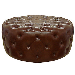 Armen Living Armen Living Victoria Ottoman In Brown Bonded Leather, , large