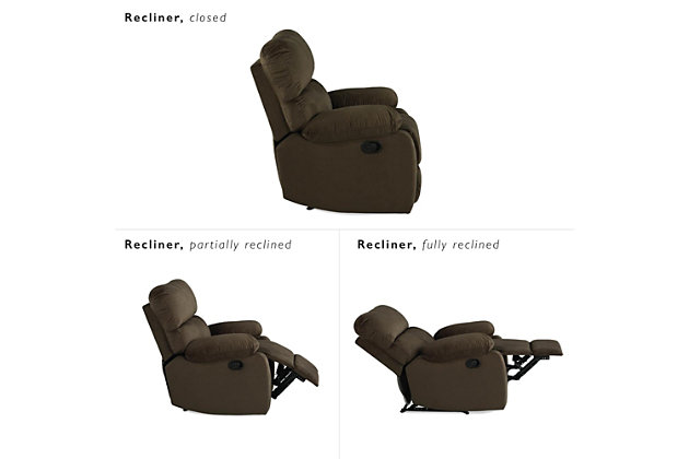Dorel Living Sterling Sofa Recliner Chair, Brown, large