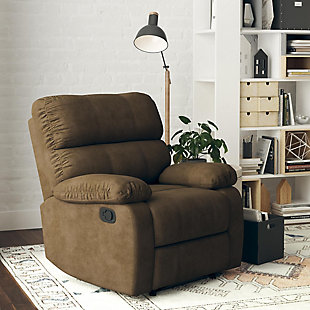 Dorel Living Sterling Sofa Recliner Chair, Brown, rollover