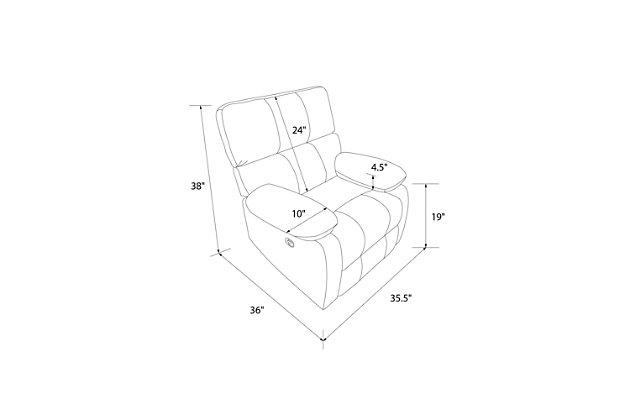 Dorel Living Sterling Sofa Recliner Chair for Living Room, Slate Green, large