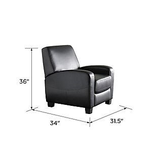 Atwater Living Faux Leather Home Theater Chair Recliner, Black, large