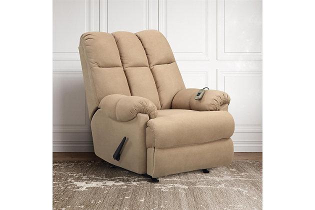Dorel Living Padded Massage Chair Recliner, Tan, large