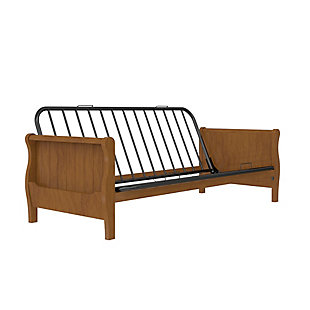 Atwater Living Ronson Wood Arm Futon with Walnut Wood Finish, Brown, large