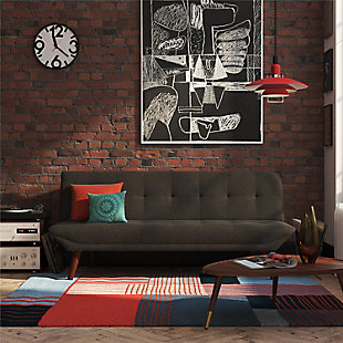 Atwater Living Jake Small Space Modern Futon, Dark Gray, rollover