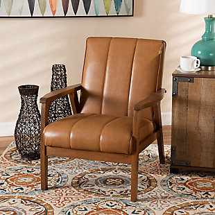 Nikko Tan Faux Leather Upholstered and Walnut Brown Finished Wood Lounge Chair, , rollover