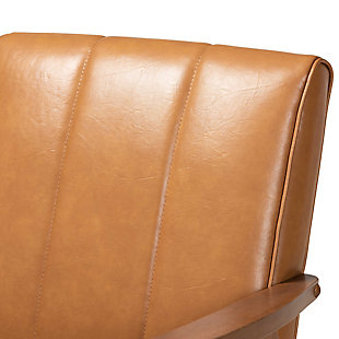 Nikko Tan Faux Leather Upholstered and Walnut Brown Finished Wood Lounge Chair, , large