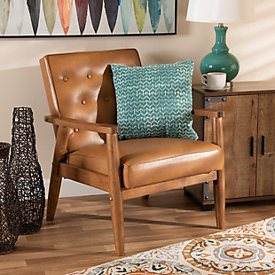 Sorrento Tan Faux Leather Upholstered and Walnut Brown Finished Wood Lounge Chair, , rollover