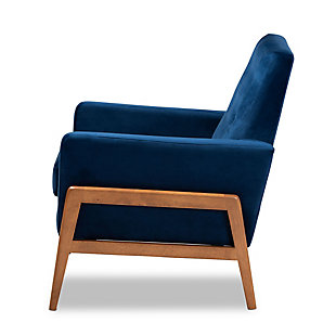 Perris Navy Blue Velvet Fabric Upholstered and Walnut Brown Finished Wood Lounge Chair, Blue/Brown, large
