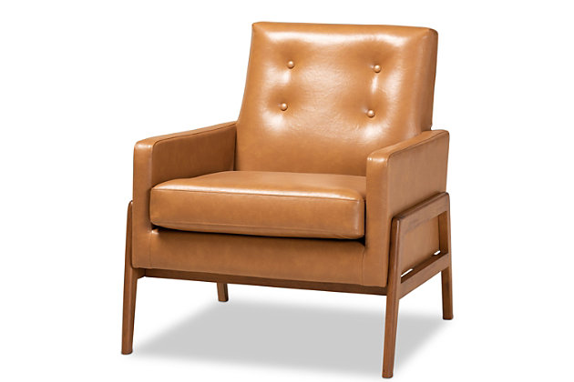 Perris Tan Faux Leather Upholstered and Walnut Brown Finished Wood Lounge Chair, , large