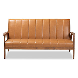 Nikko Tan Faux Leather Upholstered and Walnut Brown Finished Wood Sofa, , large