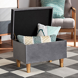 Elias Gray Velvet Fabric Upholstered and Oak Brown Finished Wood Storage Ottoman, Gray/Brown, rollover