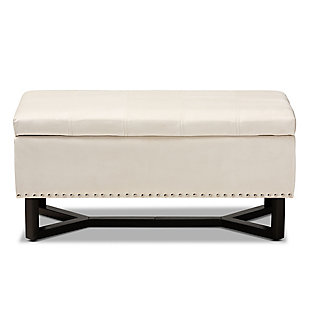 Esther Beige Velvet Fabric Upholstered and Dark Brown Finished Wood Storage Ottoman, Cream, large
