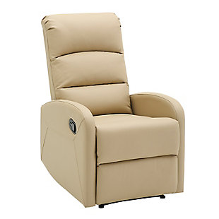 Dormi  Faux Leather Contemporary Recliner, Beige, large